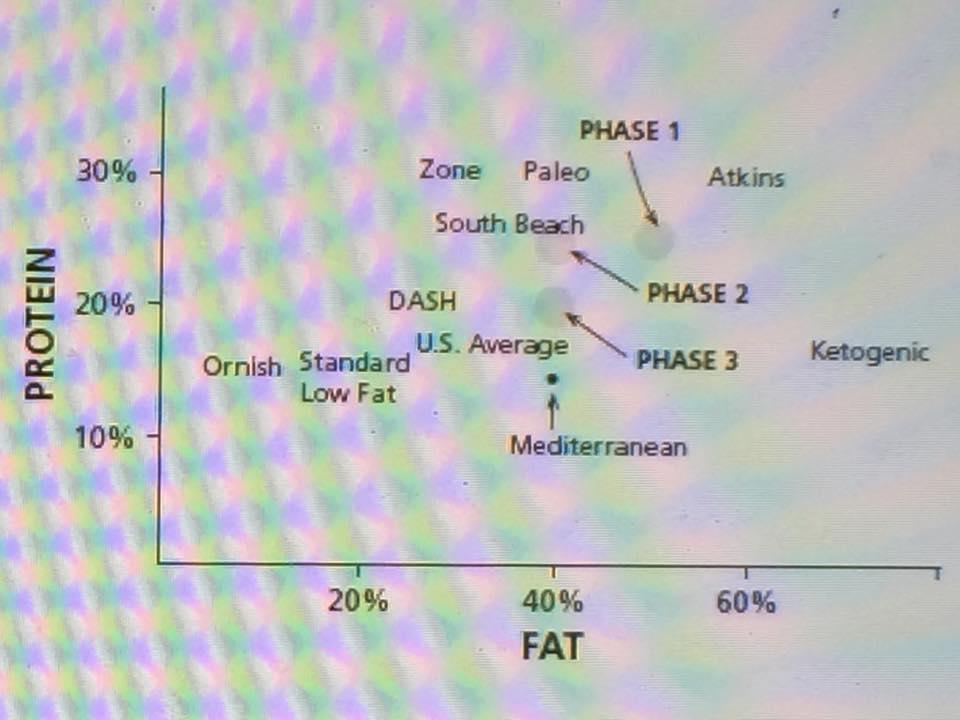 รูปที่ 1 : การกระจายพลังงานจากโปรตีนและไขมัน ของโภชนาการลดน้ำหนักชนิดต่างๆ เช่น Ornish diet, DASH, Paleo, Zone, South Beach, Atkins, Mediterranean, Ketogenic จะเห็นว่า Phase 1 ของโภชนาการหยุดหิวแบบที่ Prof.David แนะนำ จะอยู่ประมาณ Atkins Diet ส่วน Phase 2 อยู่ประมาณ South Beach Diet และ Phase 3 อยู่ประมาณ Mediterranean Diet