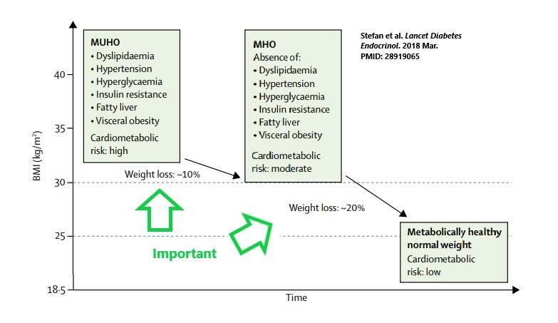 รูปที่ 2 : ในคนที่มีค่าระบบเมตาบอลิสมผิดปรกติ (MUHO) จากความอ้วนระดับอันตราย แค่ลดน้ำหนักได้ 10% ก็ช่วยปรับปรุงให้ร่างกายกลับมาเป็นคนอ้วนที่ระบบเมตาบอลิสมปรกติ (MHO) ได้ และเมื่อลดน้ำหนักต่อไปอีก 20% ก็สามารถกลายเป็นคนน้ำหนักปรกติที่มีระบบเมตาบอลิสมปรกติได้