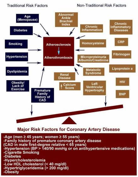 Major risk factors for coronary disease