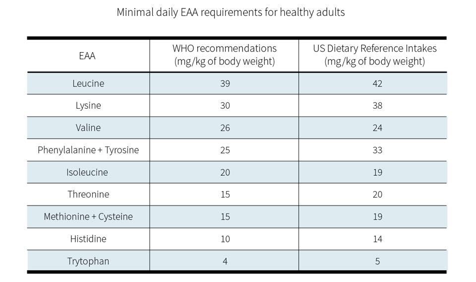 ตารางที่ 2 : ปริมาณกรดอะมิโนจำเป็นที่ควรได้รับต่อวัน อ้างอิงจากองค์การอนามัยโลก และ US Dietary Reference Intakes