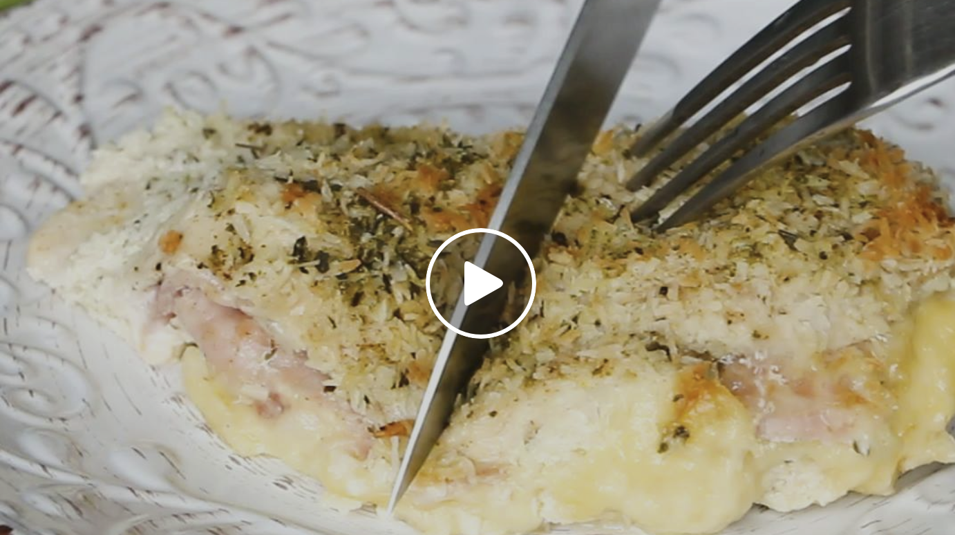 Low carb Chicken Cordon Bleu with a crisp coconut coating