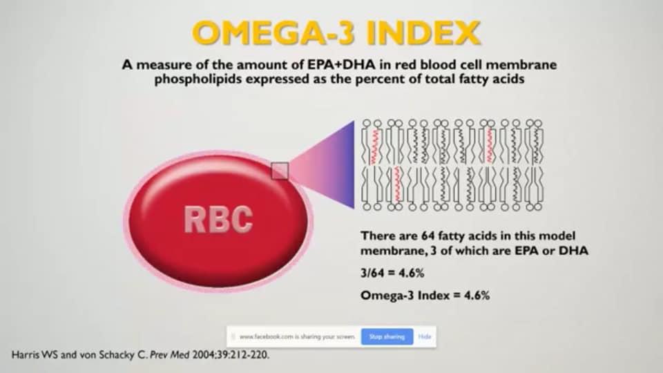 รูปที่ 2 : บนผนังเซลล์เม็ดเลือดแดงตรงตำแหน่งนี้ มีกรดไขมันจำนวน 64 โมเลกุล ซึ่งเป็นโมเลกุลกรดไขมันจำเป็น Omega-3 (EPA และ DHA) อยู่ 3 โมเลกุล (สีแดง) ดังนั้น Omega-3 Index จึงเท่า 3/64 คือ 4.6%